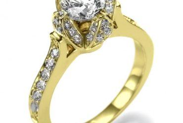 Ice Flower Unique Designer Diamond 4 Prong Engagement Ring