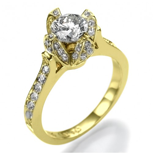 Ice Flower Unique Designer Diamond 4 Prong Engagement Ring