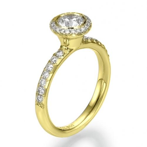 Snowflake Bezel Set Unique Round Cut Diamond Engagement Ring
