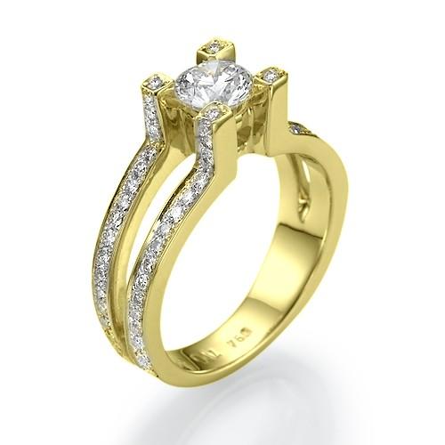 Utopian Dream Split Shank Modern Designer Diamond Engagement Ring