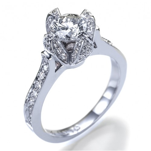 Ice Flower Diamond Engagement Ring
