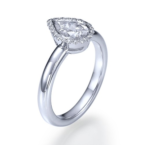 Pear Star Bezel Set Diamond Engagement Ring