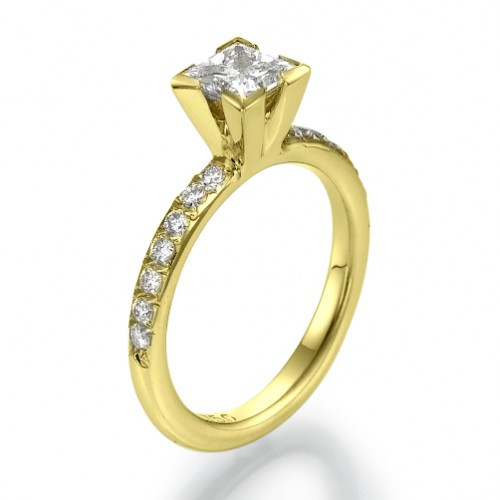 Frosted Princess Cut Diamond Engagement Ring