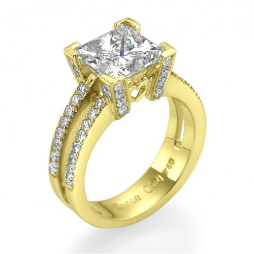 Queen of Hearts Princess Cut Engagement Ring