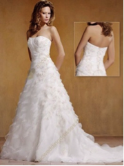 Applique Satin Organza Wedding Gown