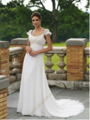 Cap Sleeves Chapel Train Chiffon Wedding Dress