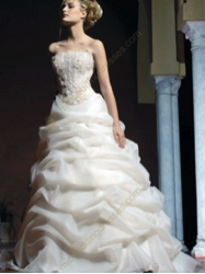 Embroidery Satin Organza Wedding Gown