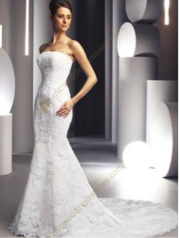Trumpet Strapless Satin Lace Wedding Dress