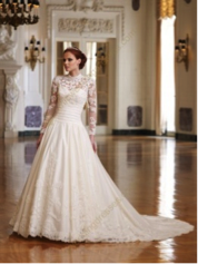 White Ball Gown Strapless Sweetheart Beaded Lace Long Sleeve Lace Jacket Satin Chapel Train Wedding Dress