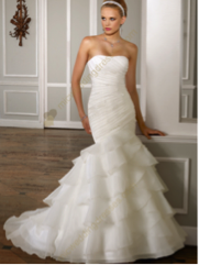 White Mermaid Strapless Beading Satin Organza Bridal Gown