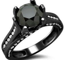 Antique Style Black Diamond Engagement Rings
