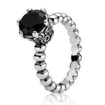 Pandora Silver and Melanite Ring