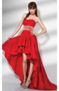 Strapless Slight Sweetheart Waist High Low Prom Dress