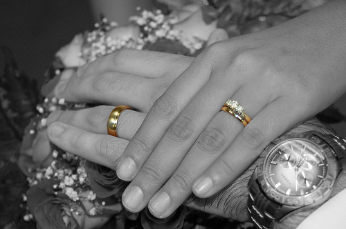 Wedding ceremony ring exchange