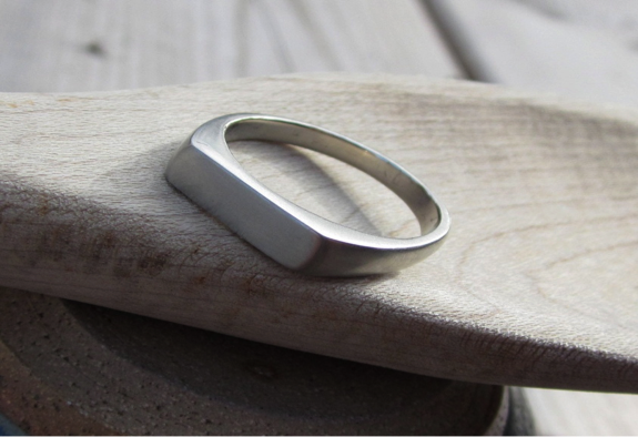 Yellow or White Gold Square Plain Signet Ring
