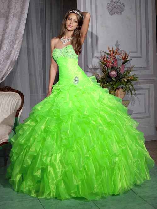 Quinceanera Gown Lime Green
