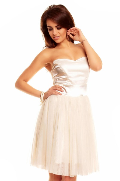 Strapless Chiffon Dress with Satin Top