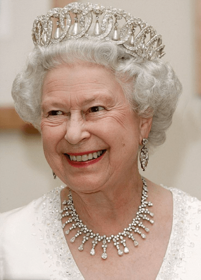 The Queen of England Wearing Pearls