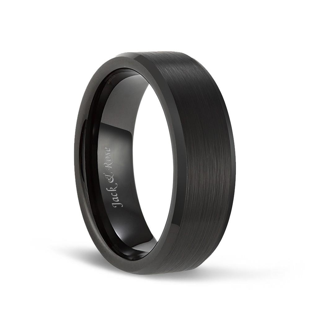 Matte brushed black tungsten wedding band