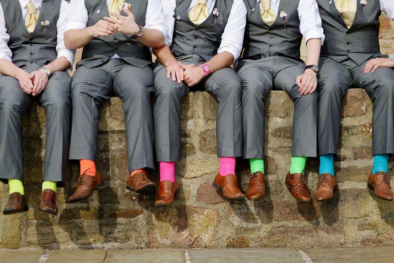 Sock Shot Wedding Party Photo