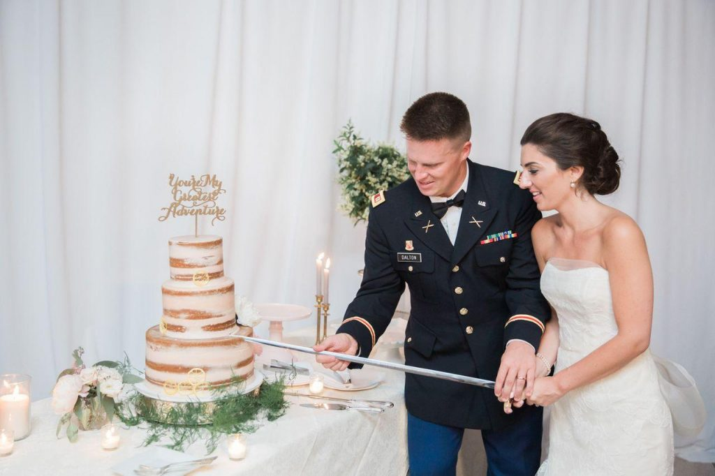 Military Wedding Cutting the Cake
