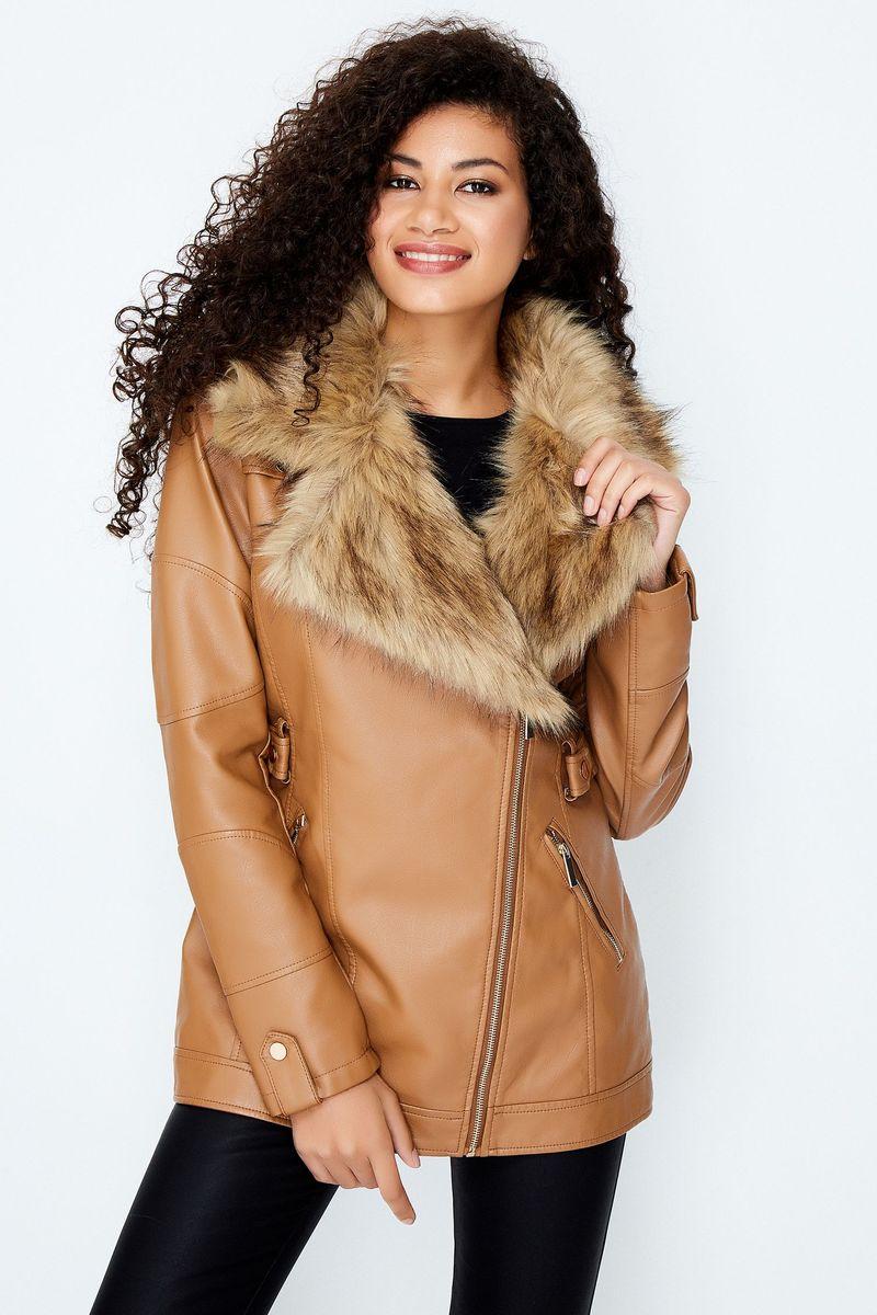 Fur Collar Leather Jacket women 1