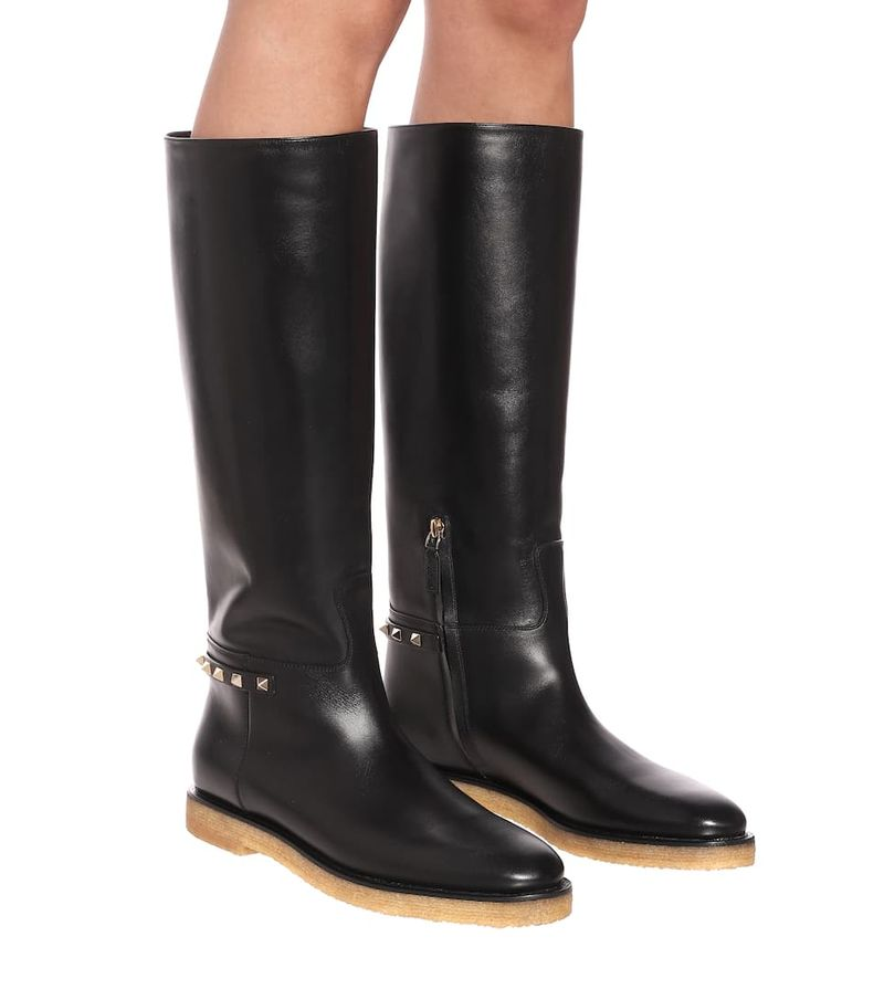 Valentino Garavani Rockstud Leather Knee High Boots