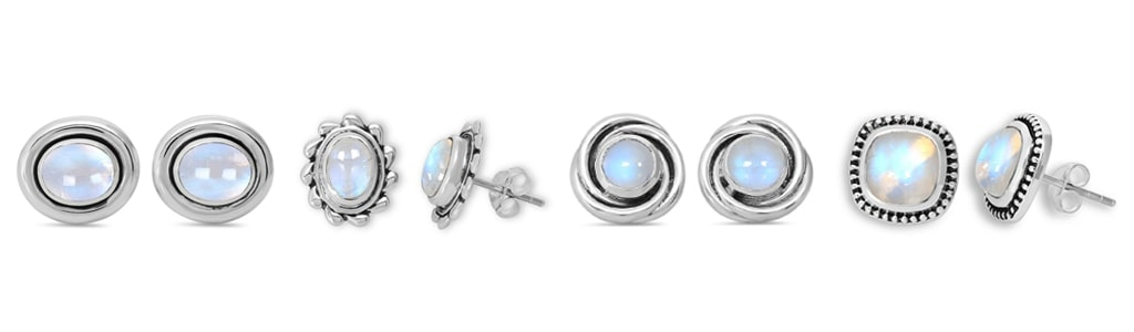 Sterling Silver Moonstone Stud Earrings