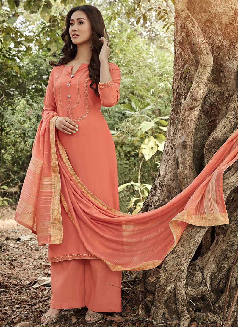 Peach Muslin Embroidered Suit
