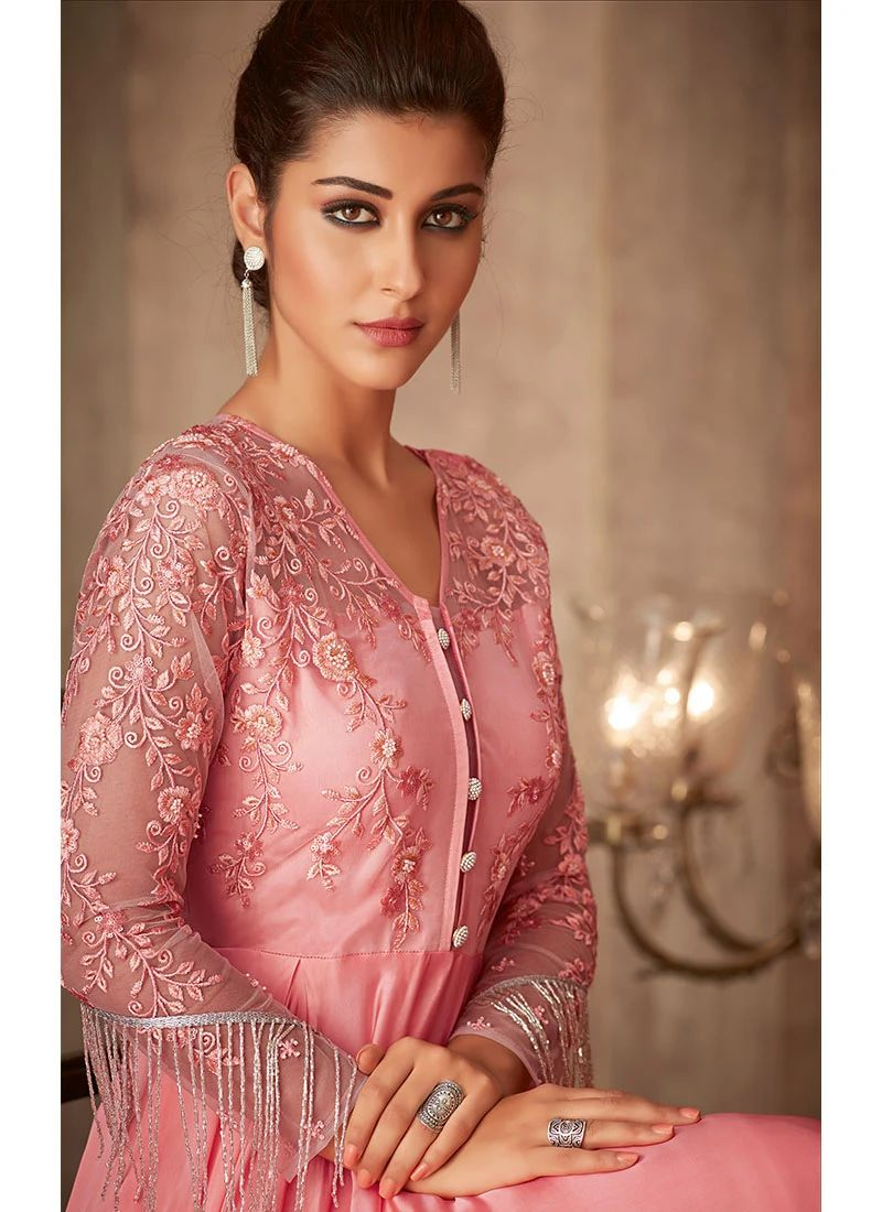 Pink Heavily Embroidered Anarkali