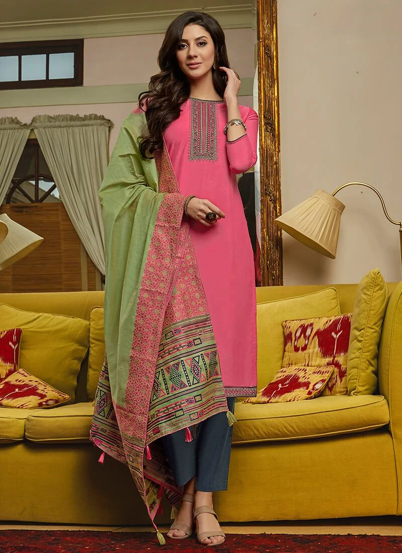Pink and Green Muslin Suit With Handloom Dupatta