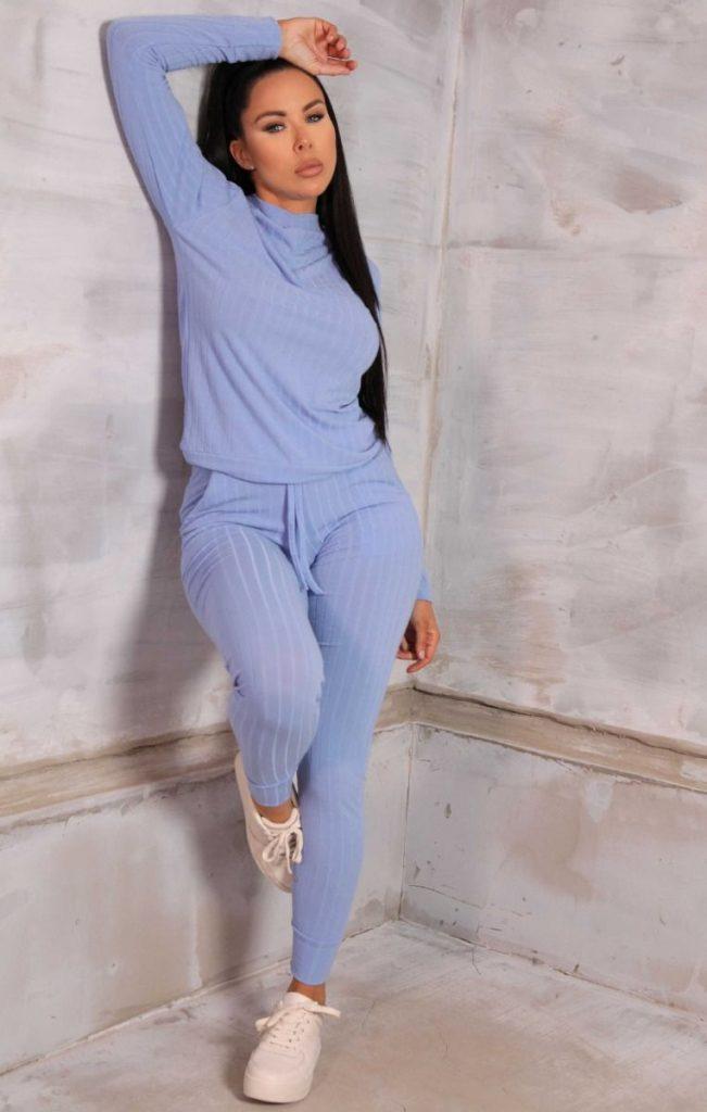 The Blue Ribbed Loungewear Set