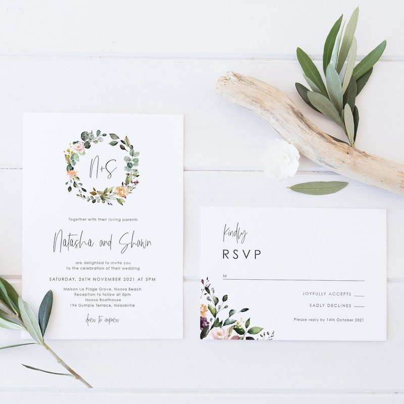 wedding invitation boho vibes floral